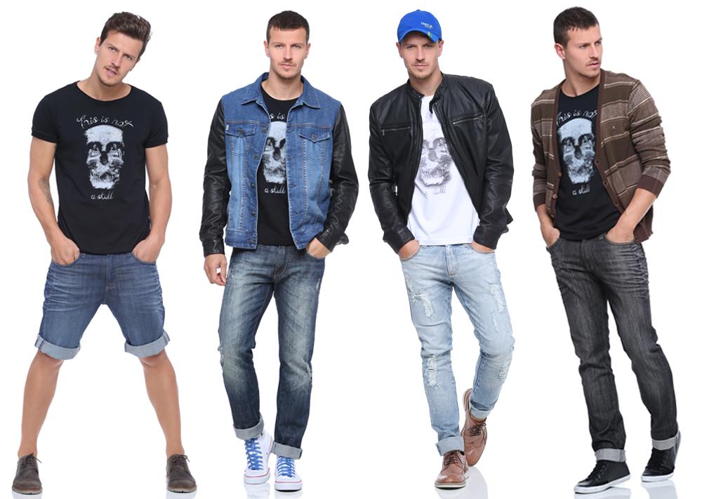 Looks com t-shirt de caveira - Damyller