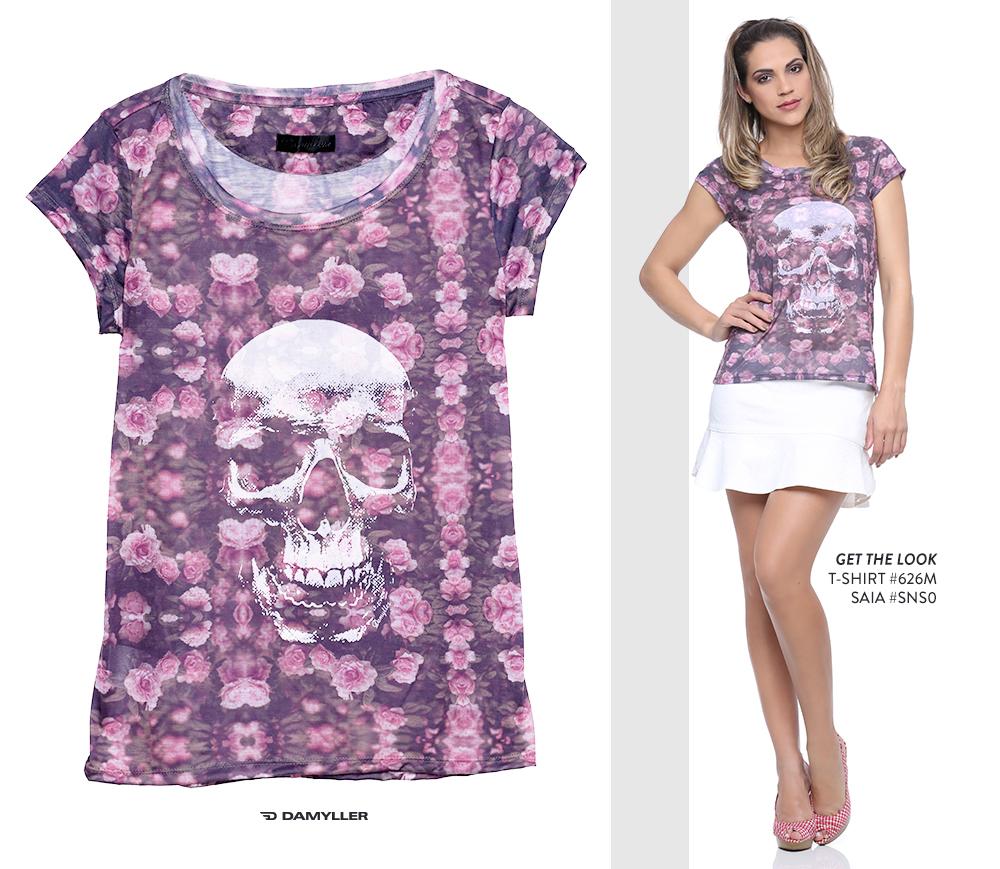 Clique para comprar online: T-shirt feminina com estampa de caveira!