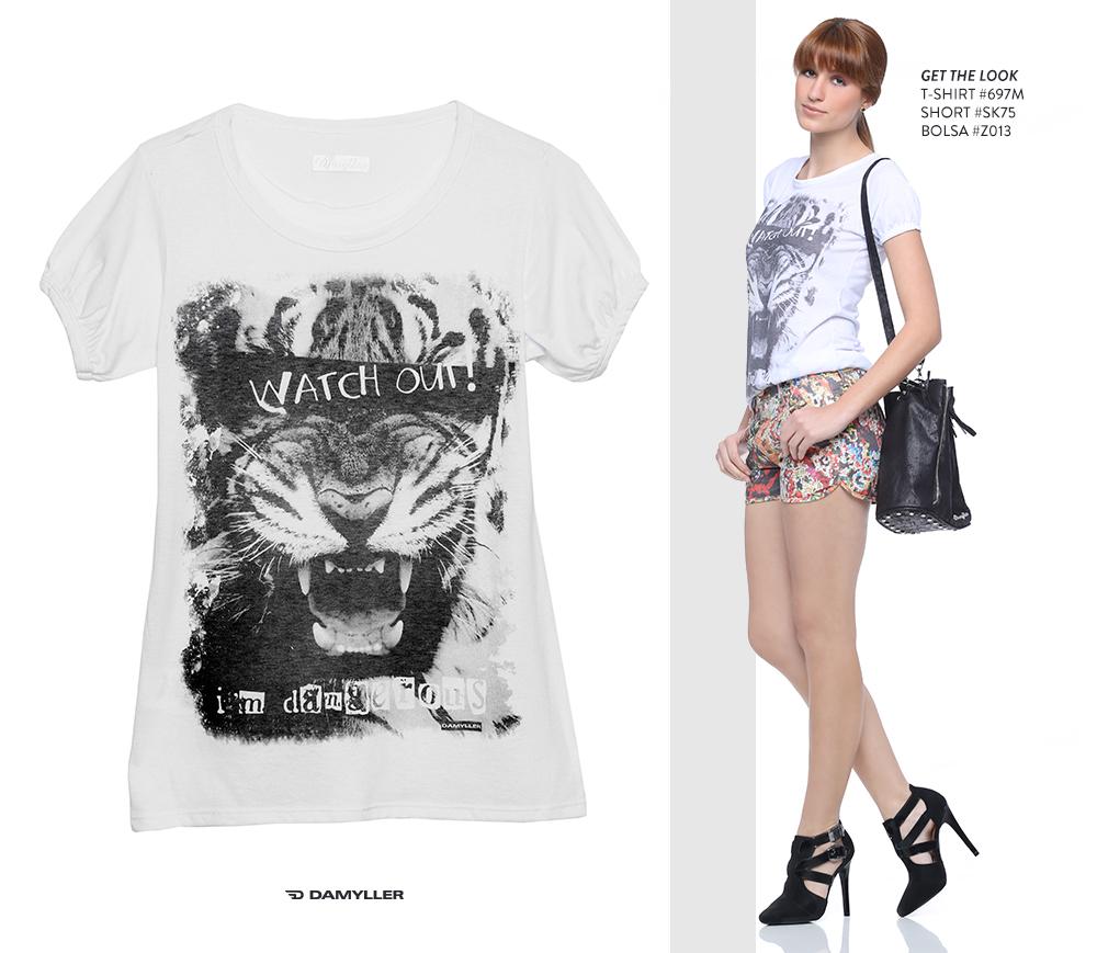 Clique para comprar online: T-shirt feminina com estampa de onça!