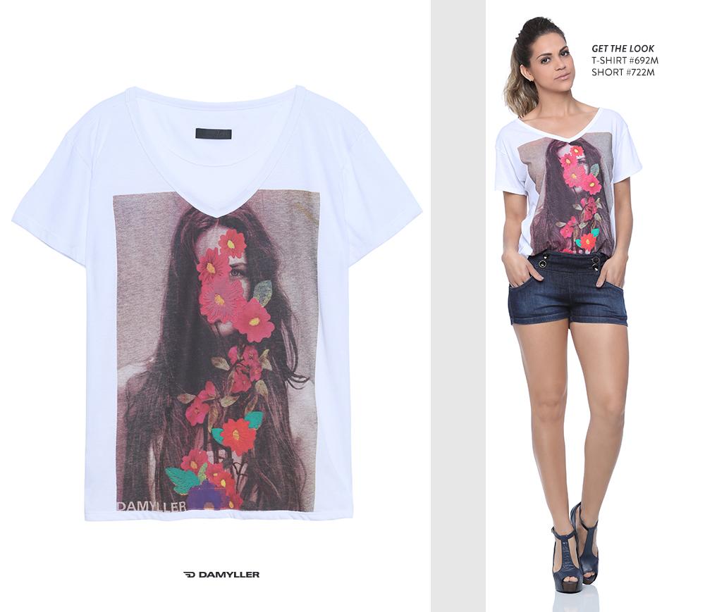 Clique para comprar online: T-shirt com estampa de rosto floral!