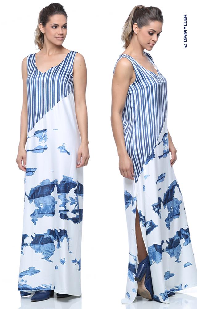 Clique e compre: Vestido longo mix de estampas