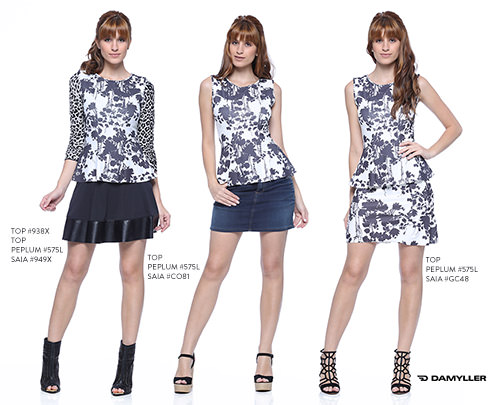 looks com top peplum estampado