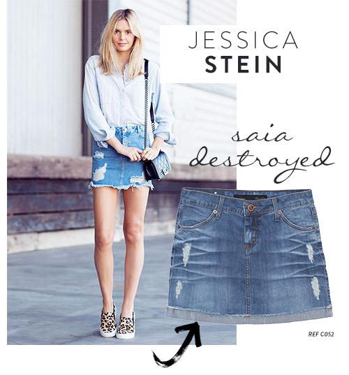 jessica stein saia jeans destroyed