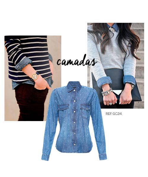 como usar camisa jeans com sobreposição