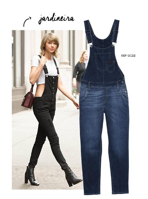 taylor swift com jardineira jeans
