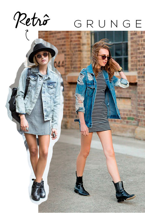 jaqueta jeans retrô estilo grunge