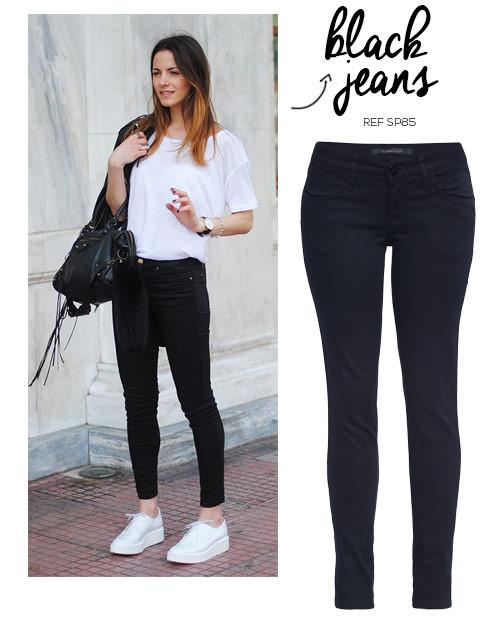 look feminino tênis branco e calça jeans preta