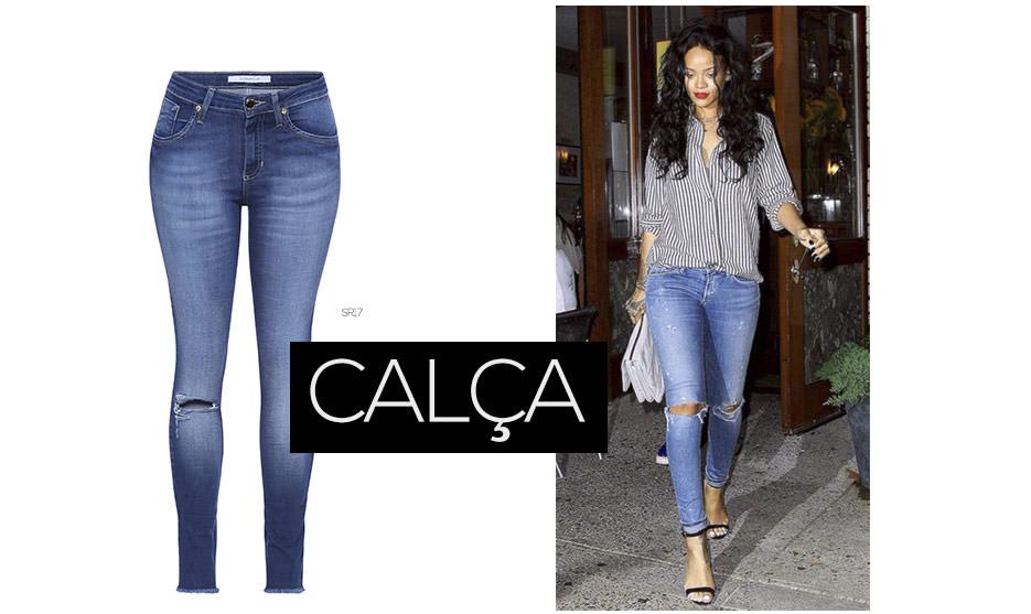 rihanna com calça jeans