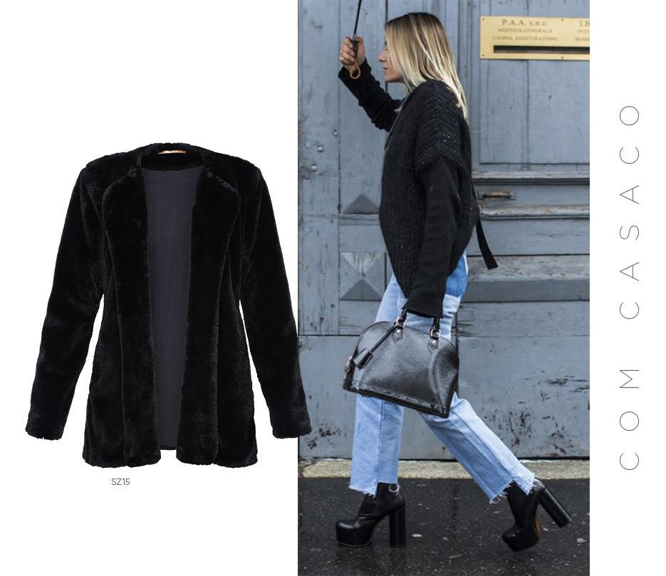 Casaco preto e jeans