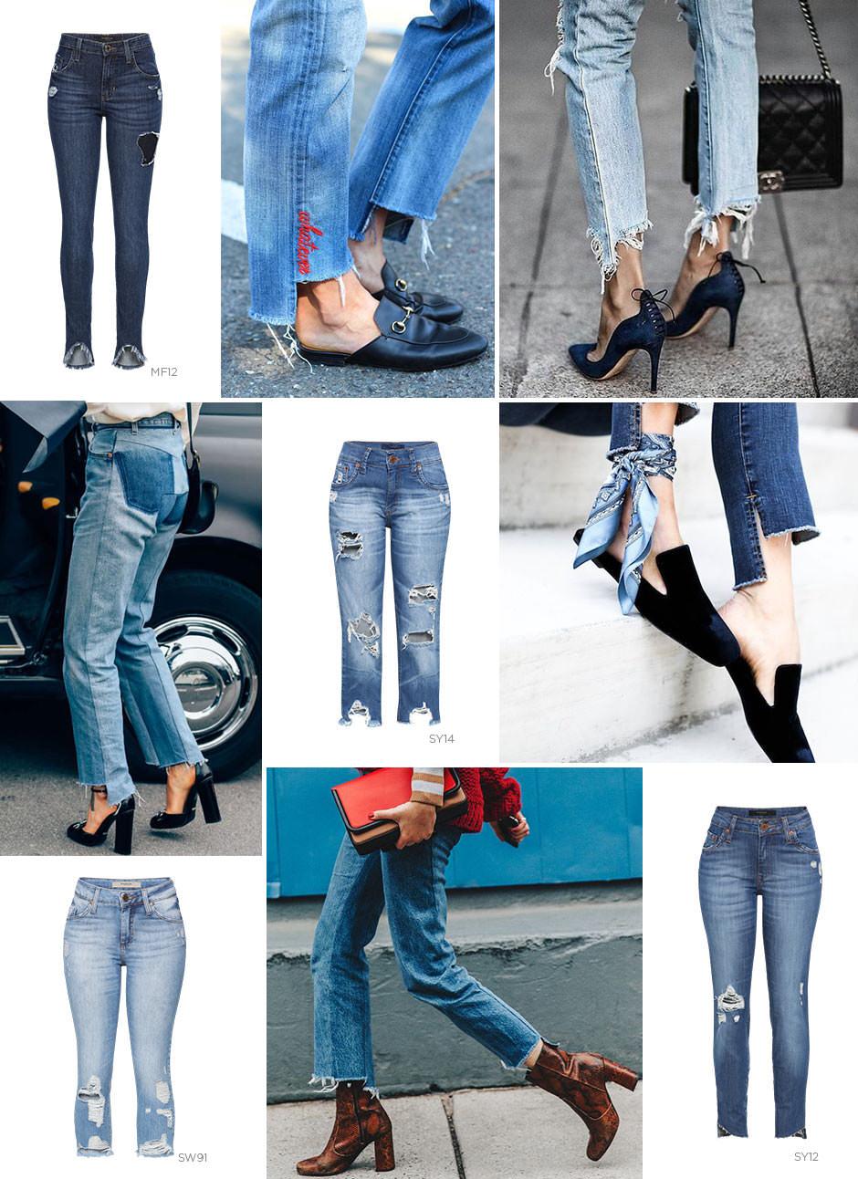 Jeans com barra assimétrica