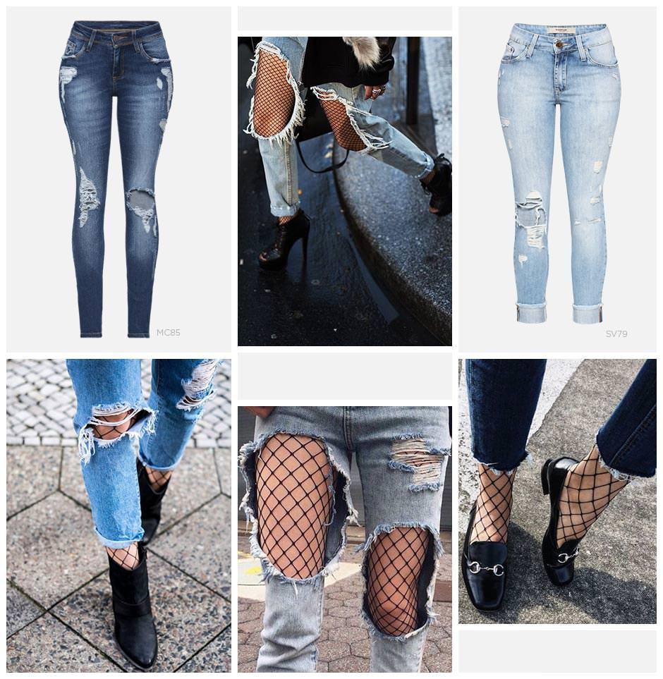 Jeans com meia arrastao