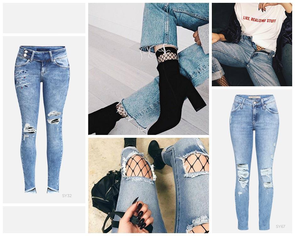 Jeans destroyed e meia arrastao