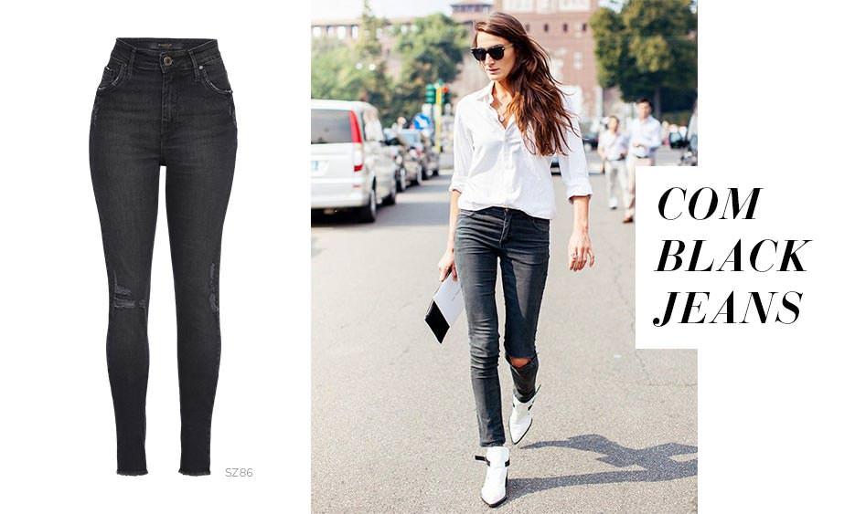 Bota branca e jeans preto