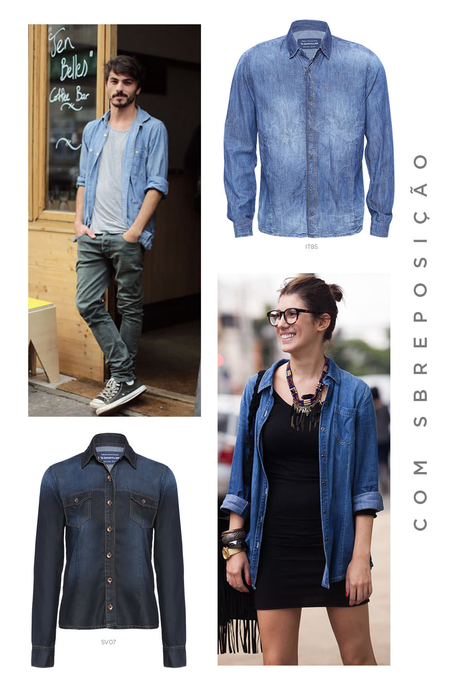 Camisa jeans em sobreposição