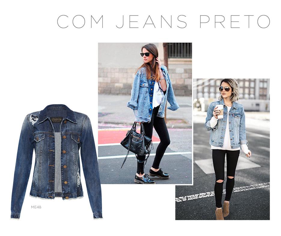 Jaqueta jeans com calça preta