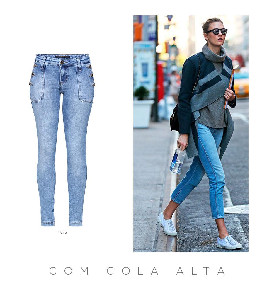 Como usar calça cropped jeans e blusa de gola alta