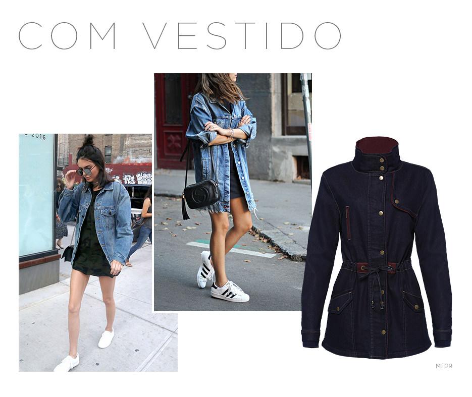 Vestido e jaqueta jeans