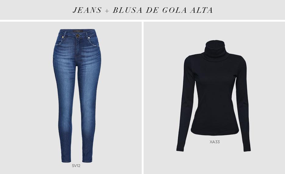 calca jeans e blusa de gola alta