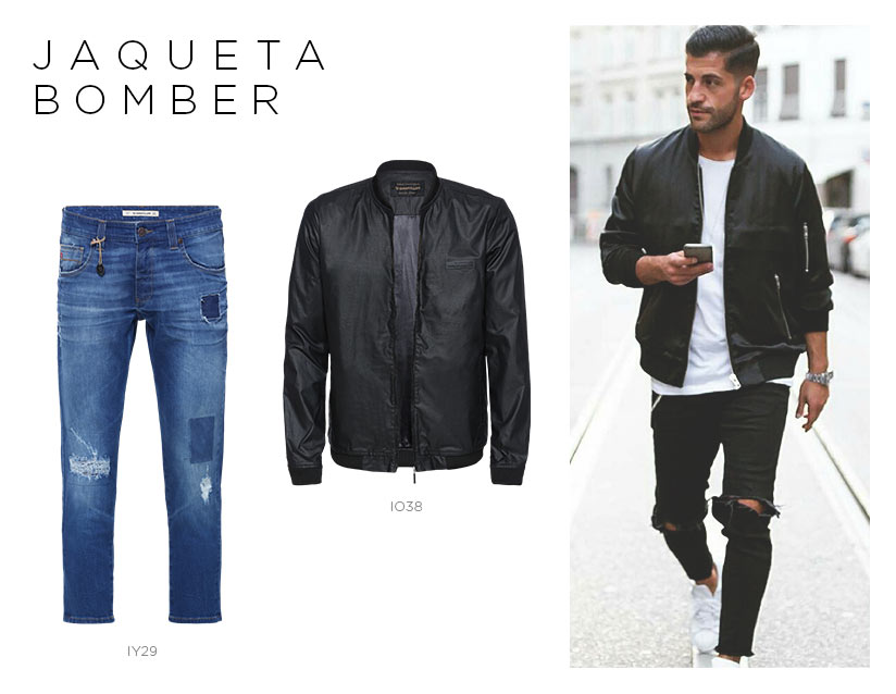 jaqueta bomber com jeans destroyed masculino