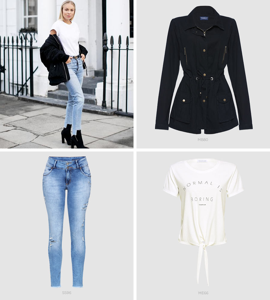 jeans com barra assimétrica e t-shirt