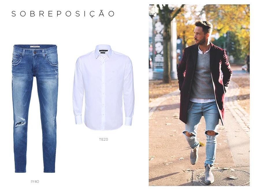 jeans destroyed masculino com camisa branca