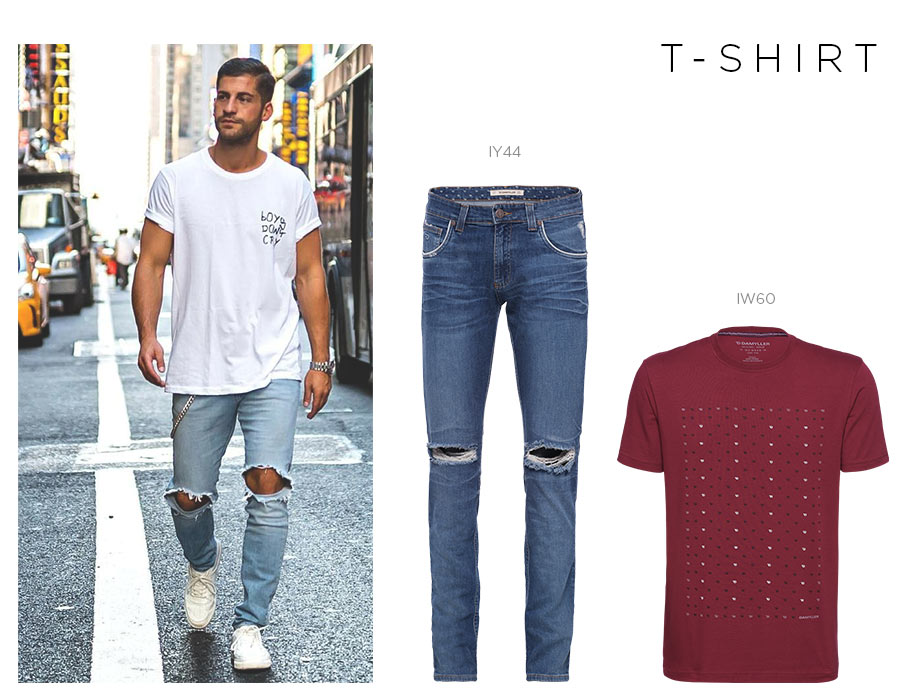 jeans destroyed masculino com t-shirt