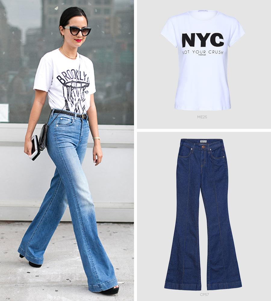 jeans flare e t-shirt
