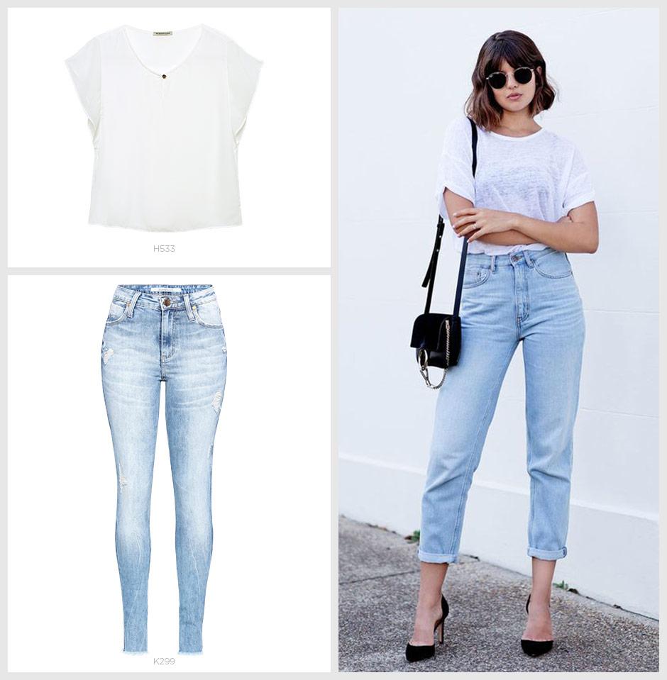 jeans com tshirt basica