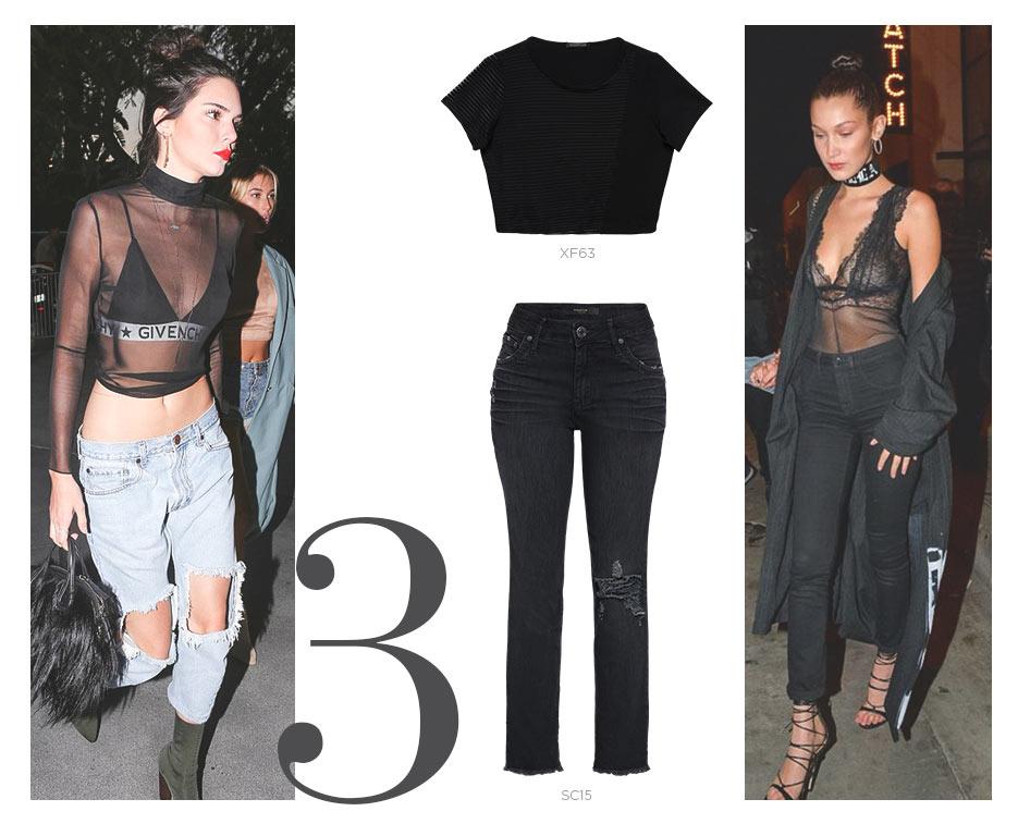 top transparente e jeans