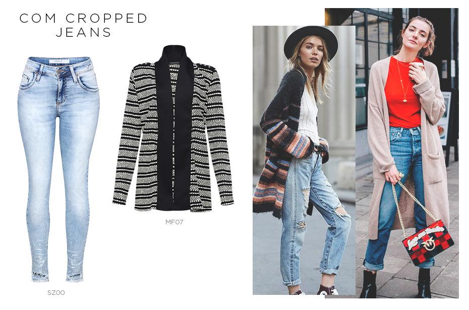 maxi cardigã com cropped jeans