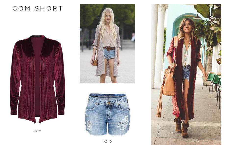 maxi cardigã com short jeans
