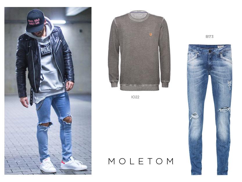 moletom com jeans destroyed masculino
