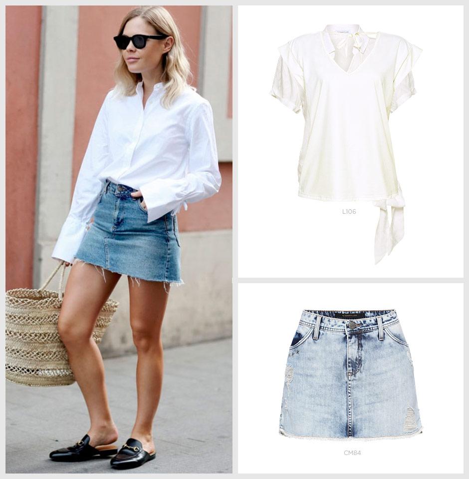 saia jeans com camisa branca