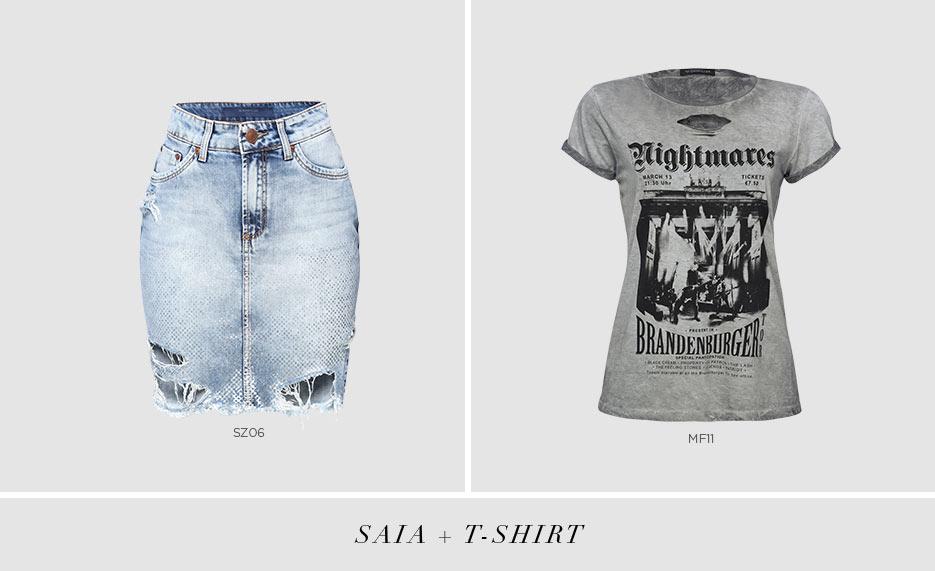 saia jeans com t-shirt rocker