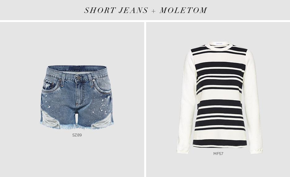 short jeans e moletom listrado