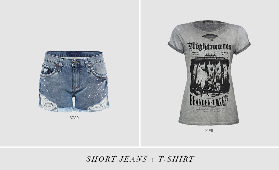 short jeans com t-shirt rocker