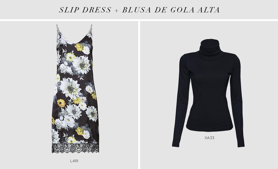 slip dress com blusa de gola alta