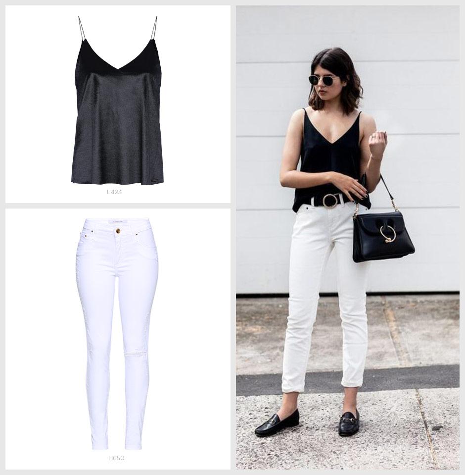 top de veludo com jeans branco