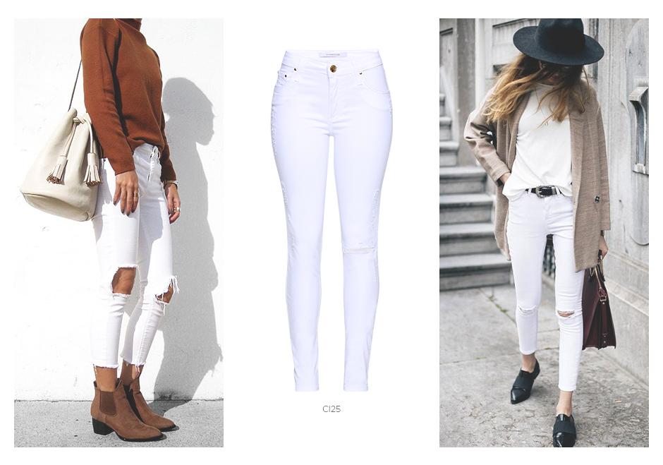 jeans branco no inverno