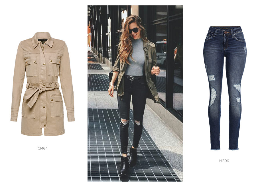 jeans destroyed e trench coat