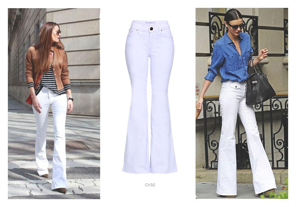 jeans flare branco