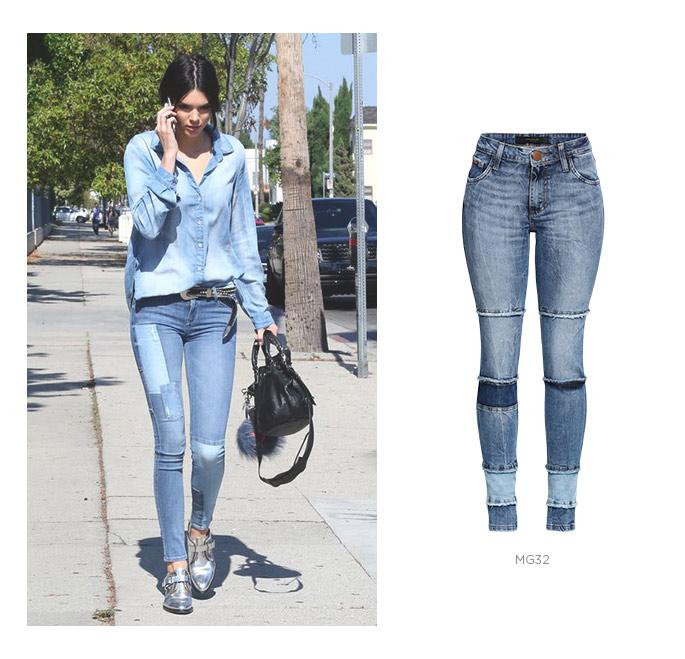 jeans patchwork com camisa jeans
