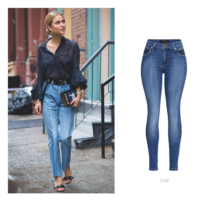 jeans patchwork com camisa transparente