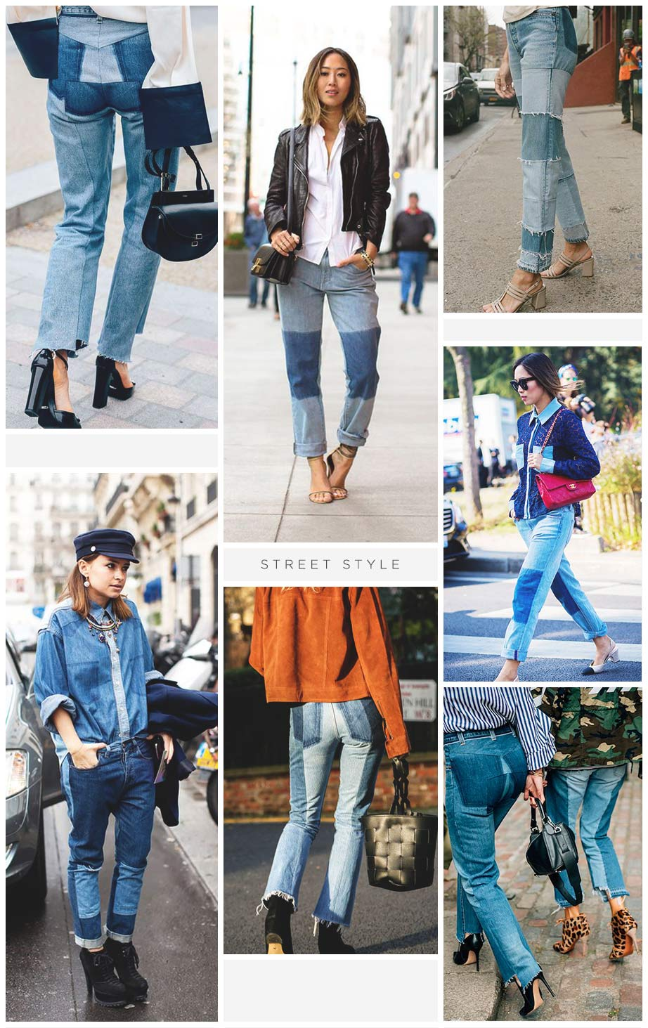 jeans patchwork street style