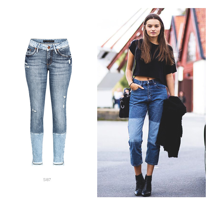 jeans patchwork e top cropped