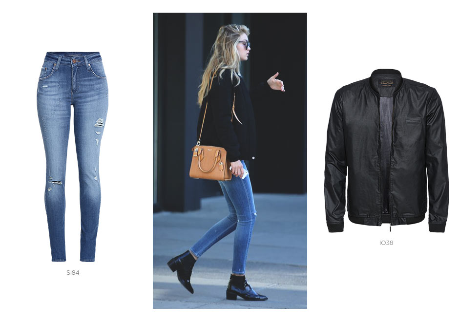 jeans skinny e jaqueta bomber