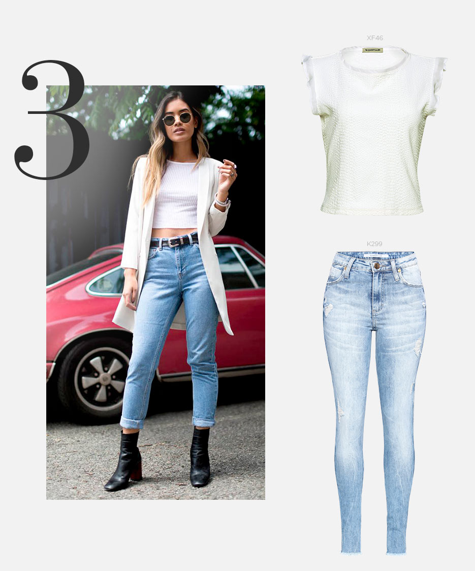 Top cropped e jeans