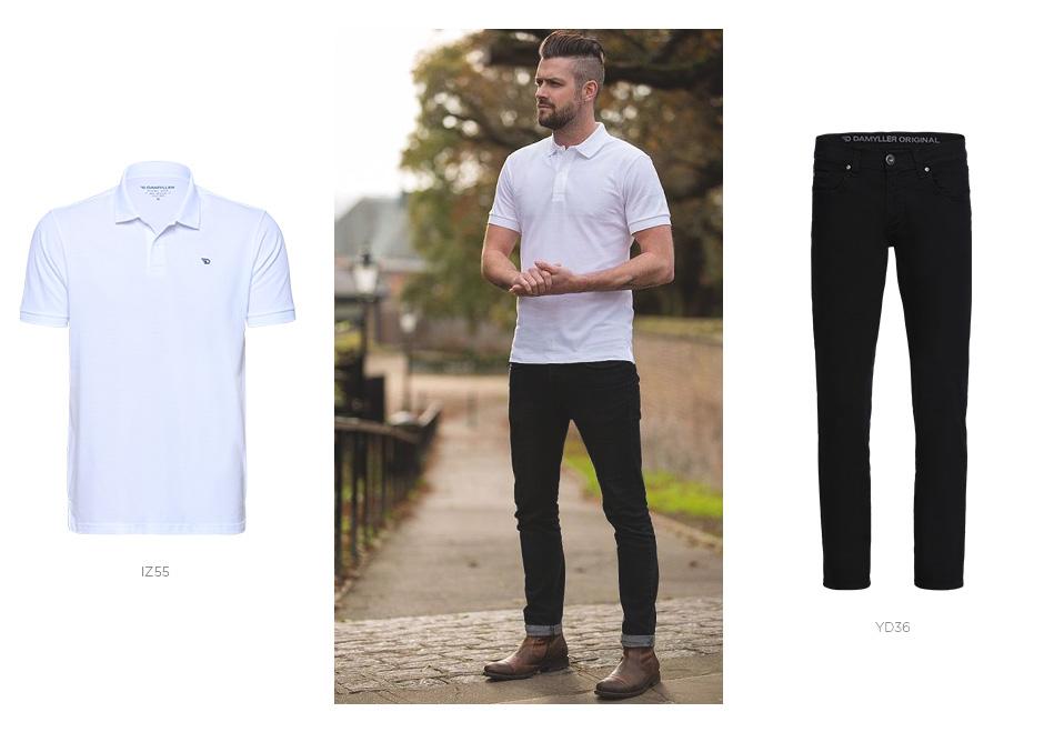 camisa polo branca e jeans preto masculino