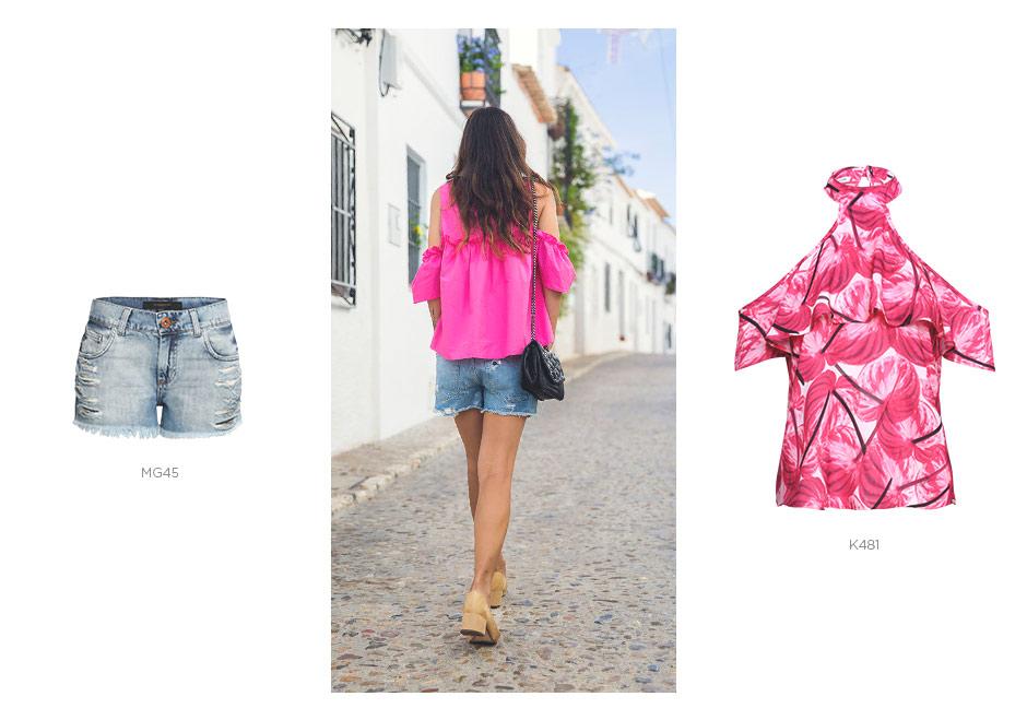 top pink com short jeans
