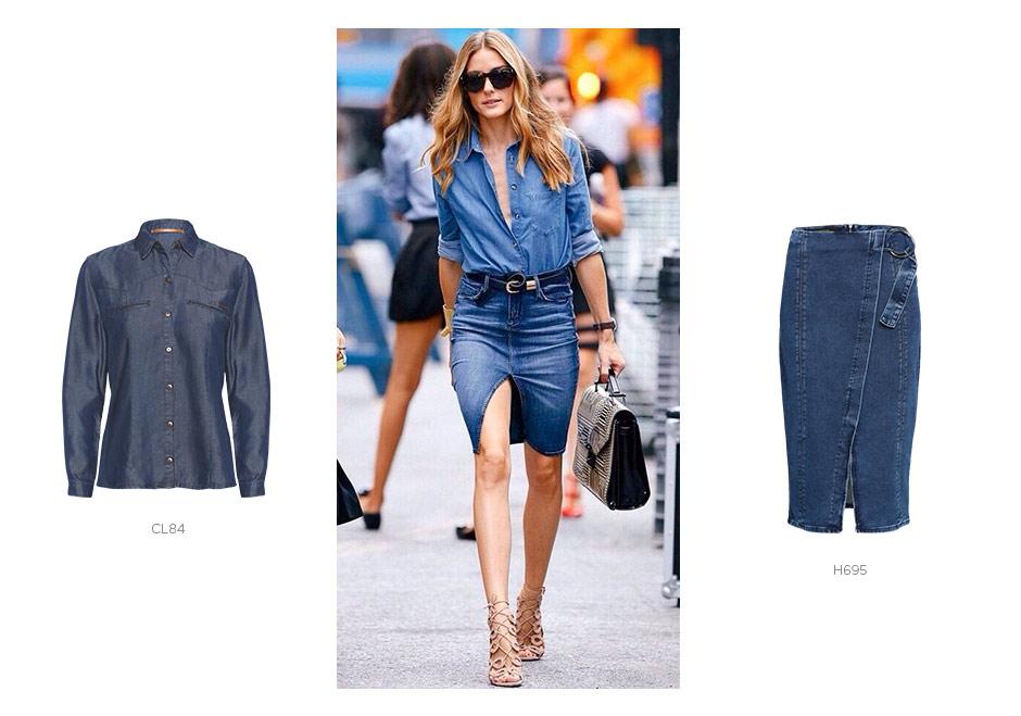 camisa jeans e saia midi jeans